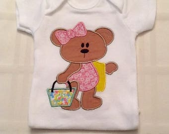 Embroidered Beach Bear Onesie