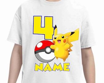 Pokemon Birthday Shirt Customized birthday party shirt Add Name & Age