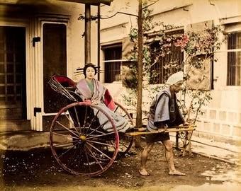 Japanese woman in a carriage Suzuki Shin'Ichi.