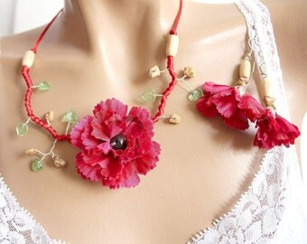 Red Garnet set branch floral.
