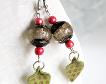Earrings green leaves and Red ceramic ball.