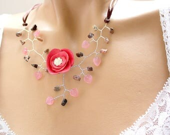 Necklace pink and Brown vegetable