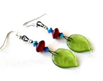 Earrings blue red green spring / summer