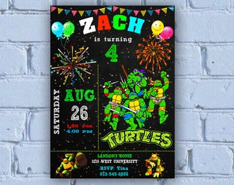 Ninja Turtle Invitation, Ninja Turtles Party, TMNT invitation, Teenage Mutant Ninja Turtle invitations, TMNT Birthday Invitation