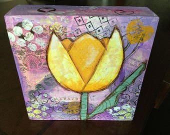 Yellow Tulip mixed media on wood block