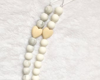 Marble / White Wooden Silicone Pacifier Clip, food grade silicone