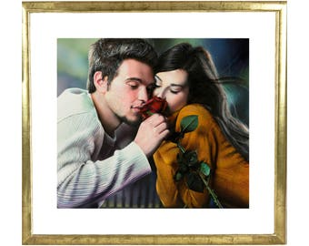 Airbrushed Lovers painting - acrylics on cardboard