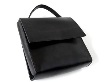 Leather Mini Square Brief Bag