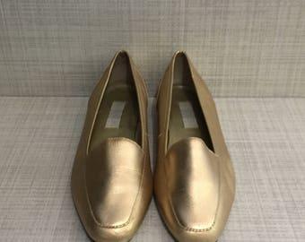 Vintage Golden Leather Loafers