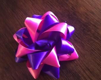 Hot pink and purple flower loop hair bow