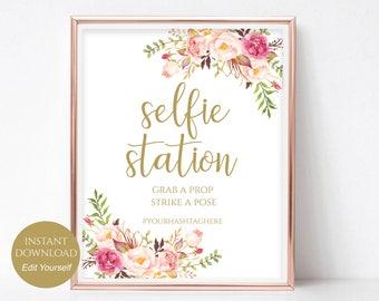 Selfie Station Printable Hashtag Sign Instagram Sign Social Media Sign Hashtag Sign Print Instant Download PDF 8x10, 5x7, 4x6 Pastel Blooms