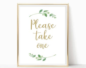 Printable Please Take One Sign Party Favors Please Tahle One Wedding Baby Shower Bridal Favor Signs Instant Download 8x10, 5x7, 4x6 Jasmine