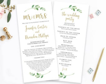 Printable Wedding Program Template Mr & Mrs Ceremony Program Order of Ceremony Wedding Template Wedding Programs Instant Download Jasmine