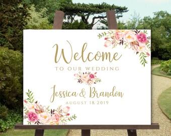 Printable Welcome Sign Wedding Horizontal Welcome Poster Welcome to our Wedding Landscape Sign Welcome Wedding Shower Welcome Pastel Blooms