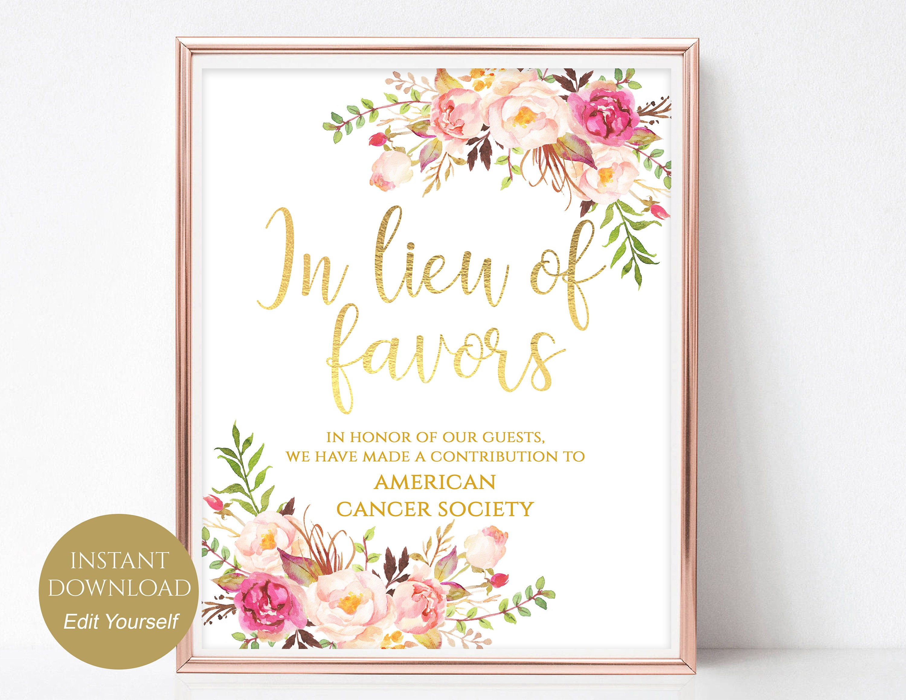 In Lieu of Favors Sign Donation Sign Favors Sign Favors Wedding Sign ...