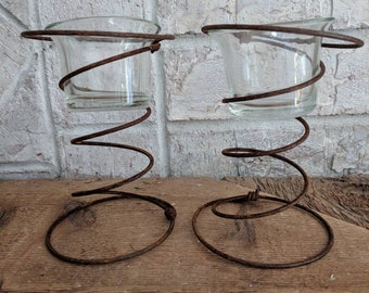 Antique Bedspring Votive Holders