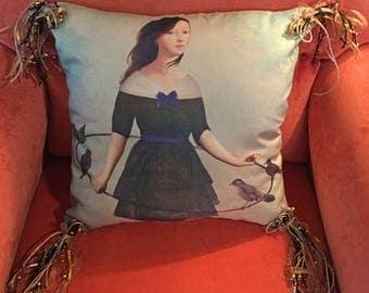 Fantasy Girl with Birds- pillow COVER