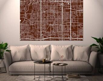 Arlington Texas / City Map / Canvas Print / Wall Art / Large 3, 5 or 6 panel