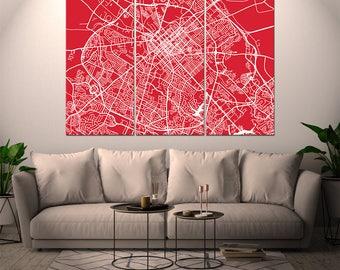 Lexington Kentucky / City Map / Canvas Print / Wall Art / Large 3, 5 or 6 panel