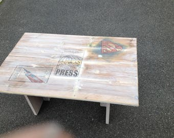 Rustic Coffee Table Superhero Themed