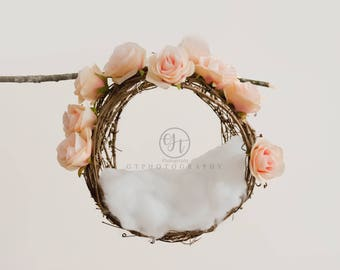 Hanging Floral Newborn Digital Backdrop/Valentine Newborn Digital Backdrop