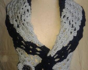 light blue and dark blue crochet Bolero
