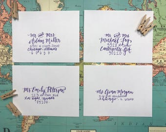 Wedding Invitations, Custom Envelopes, Envelope Calligraphy, Handwritten Envelopes