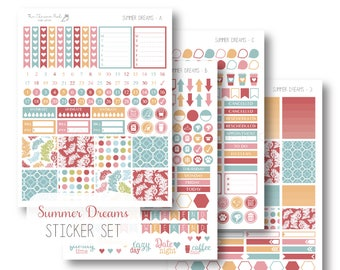 EC Summer Dreams Planner Stickers, Sticker Kit, Weekly, EC Vertical Planner Stickers, Monthly Sticker Set by The Clever Owl Paper Co.
