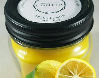 Fresh Lemon, 6 oz Mason Jar Candle, Country Chic, French Country Design, Country Decor, Hand-poured candle, Soy Vegan Candle