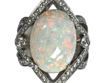 Large Opal and Diamond 14K White Gold Ring