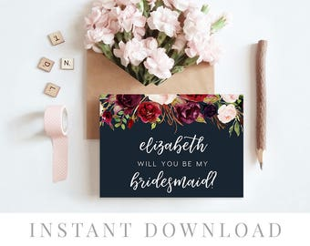 Printable Will You Be My Bridesmaid Card INSTANT DOWNLOAD, Bridal Party Cards, DIY Printable, Templett, Editable pdf, Navy Blue, Marsala