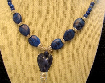 Beautiful Lapis Angel Necklace with Deep Blue Lapis Beads