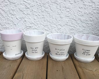 Hand Painted Herb Pots