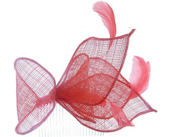 Coral Sinamay fascinator comb with tiny feathers, Wedding, Races, Ladies Day