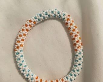 White, Blue & Orange Beaded Bracelet