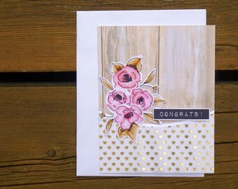 Congratulations Card, Handmade Greeting Card, Congrats Card, Best Wishes, Congratulations Floral Card, Wedding, New Baby, New Job, New Home
