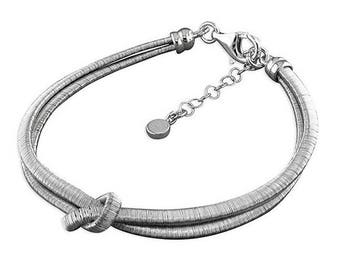 Rhodium-Plated Two Strand Knot Sterling Silver Bracelet