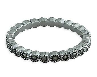 Marcasite Full Eternity Sterling Silver Ring