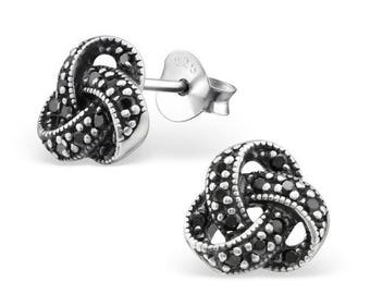 Beautiful Knot with Cubic Zirconia Sterling Silver Studs Earrings