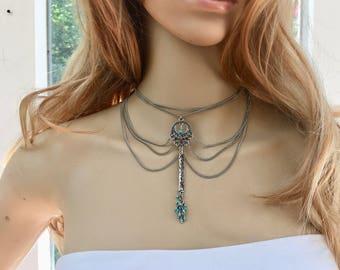 Tribal Turquoise Jewelry, Tribal Turquoise Necklace, Indian Turquoise Jewelry, Indian Turquoise Necklace