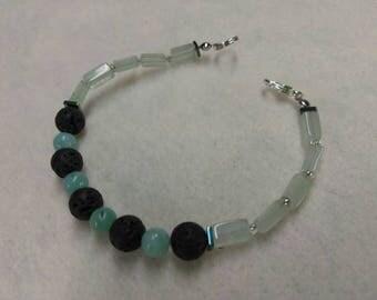 Lava Amazonite Aventurine and Hematite Beaded Bracelet