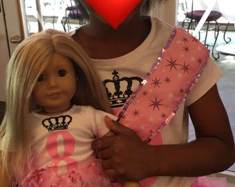 Girl and 16' doll matching shirt and tutu