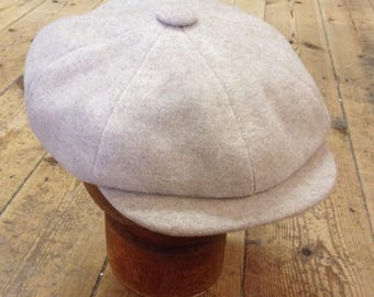 Mister Miller - OSCAR - Cashmere Wool Mix - Cream / Light Beige - Peaky Blinders - Newsboy Bakerboy Wool Cap - Vintage Style