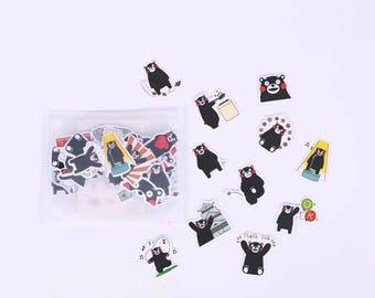 Cute Black Bear Stickers, Kawaii Sticker Flakes, Scrapbooking, Planner, Decoration Stickers
