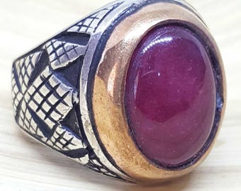 handmade 925 sterling silver men ring natural red cherry ruby yqut stone 11 us size