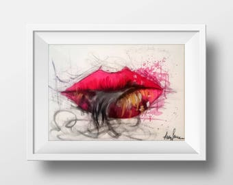 Red Lips, Painting Art, Acrylic, Human body, Italian painter, Aura Raja Semrau, Aura Artworks