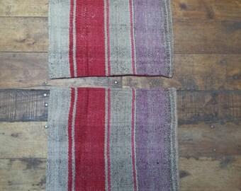 Pair of Peruvian vintage Cushions, handwoven Andean rug, Mesa cloth, organic natural rug, frazada, Cushion