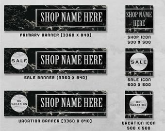 Premade Banner and Icon Set for Etsy and Facebook, Shop Front / Cover Image, Business Design, Advertising.