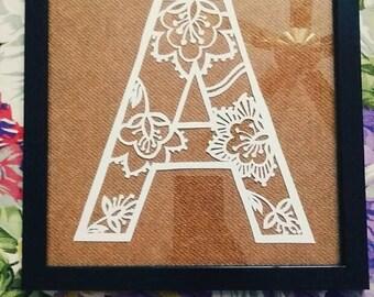 Letter A pape-cut artwork