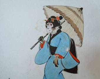 VJ539 : Painting on a shikishi board,Old Japanese watercolor/ink painting on a shikishi board ''Monkey in kimono with umbrella'',Artist sign